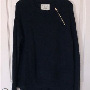 A&F gold zipper detail navy blue sweater sz L